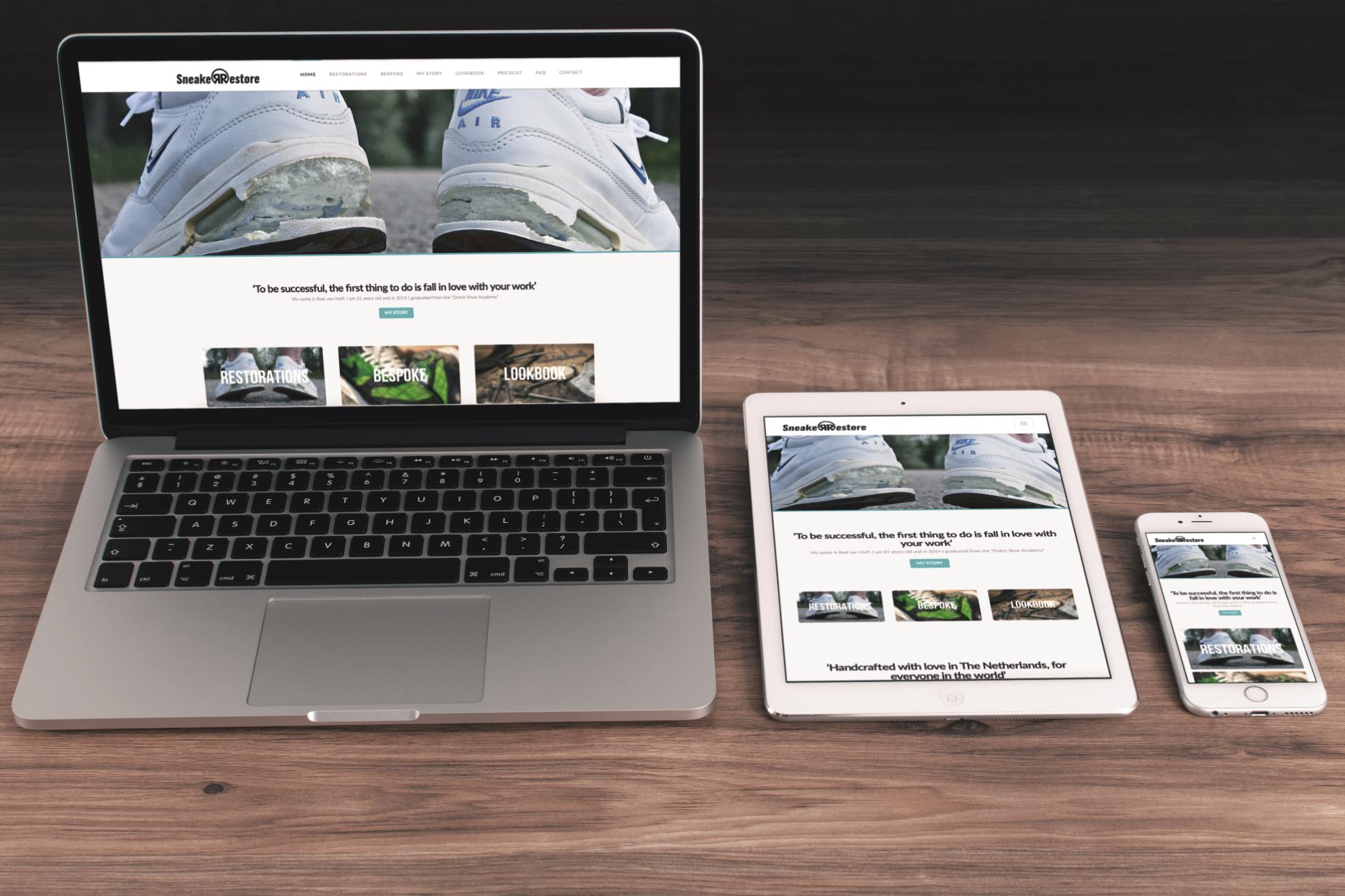 Website Sneakerrestore vormgeving portfolio